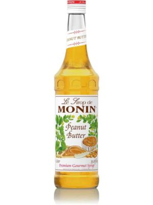 monin peanut butter syrup in glass bottle