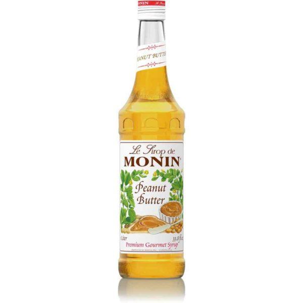monin peanut butter syrup in glass bottle