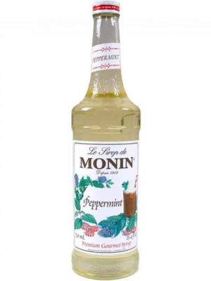 monin peppermint syrup in glass bottle