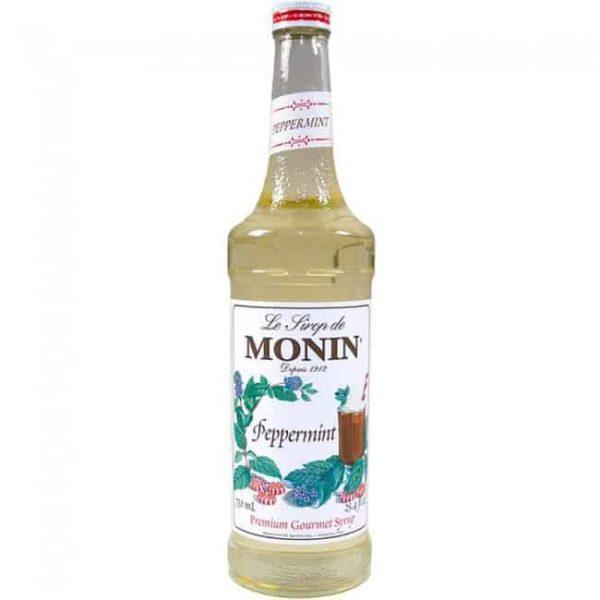 monin peppermint syrup in glass bottle
