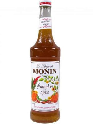 monin pumpkin spice syrup in glass bottle