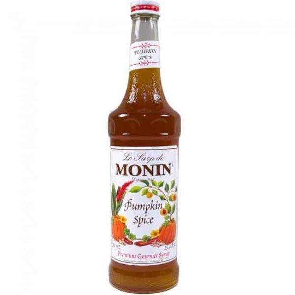 monin pumpkin spice syrup in glass bottle