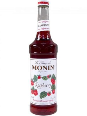monin raspberry syrup in glass bottle