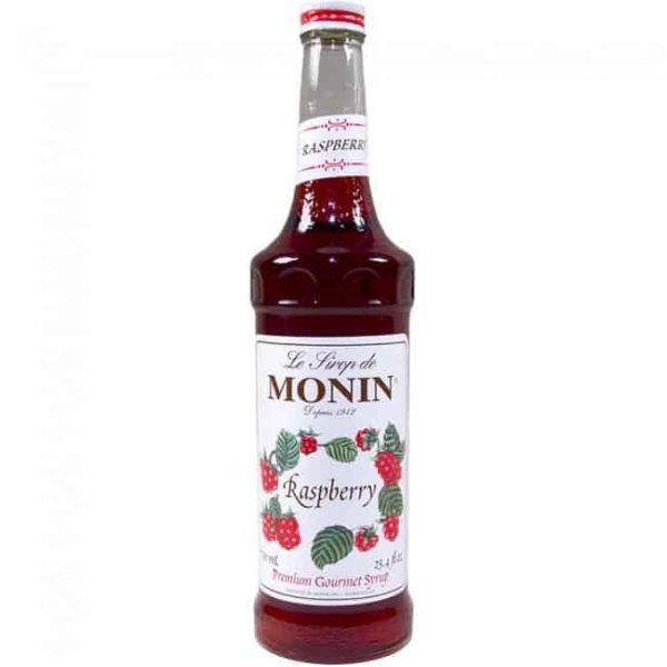 monin raspberry syrup in glass bottle