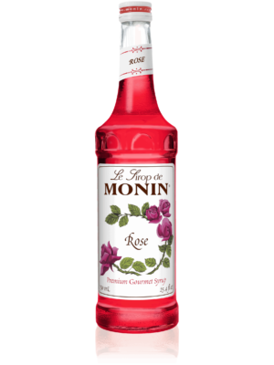 monin rose syrup in glass bottle