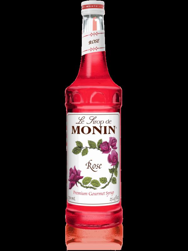monin rose syrup in glass bottle