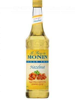 Monin SF Hazelnut Syrup in glass bottle