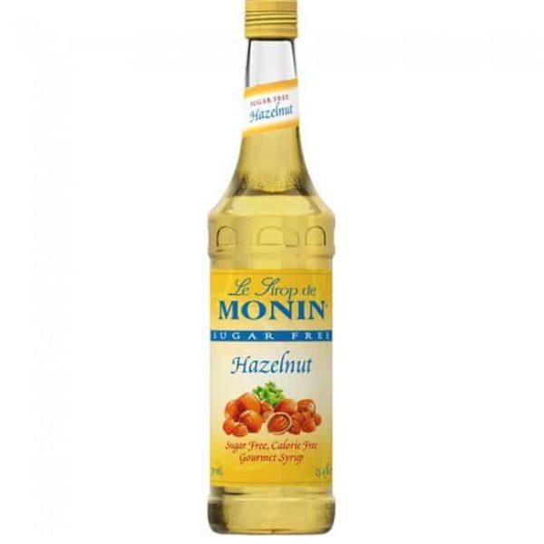 Monin SF Hazelnut Syrup in glass bottle