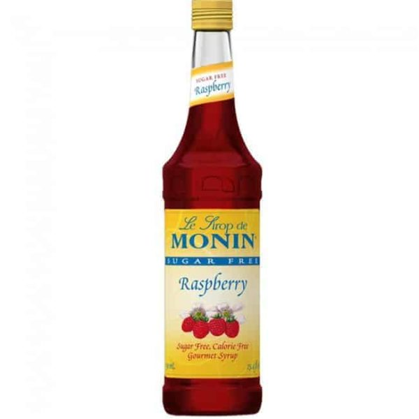 Monin Sugar free Raspberry Syrup in glass bottle