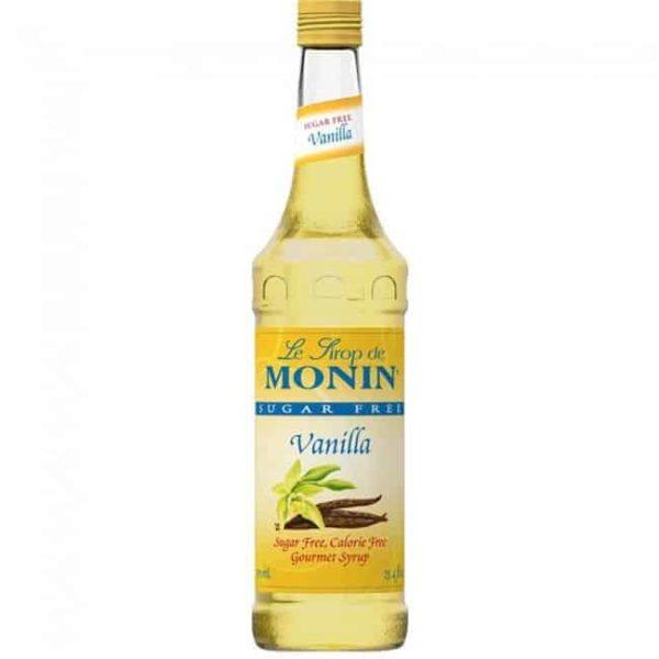 Monin sugar free vanilla syrup in glass bottle