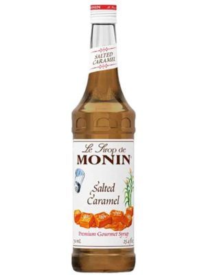 Monin salted caramel syrup in glass bottle