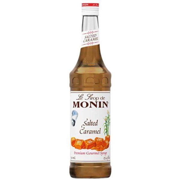 Monin salted caramel syrup in glass bottle