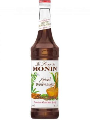 monin spiced brown sugar syrup in glass bottle