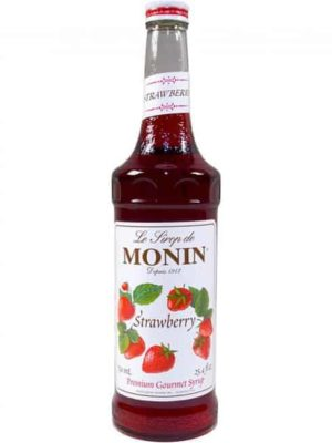 Monin strawberry syrup in glass bottle