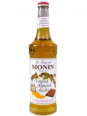 monin toasted almond mocha syrup in glass bottle
