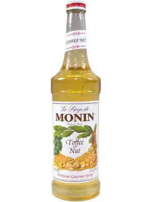 Monin Toffee nut syrup in glass bottle