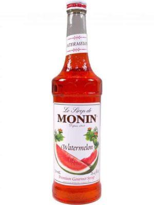 Monin watermelon syrup in glass bottle