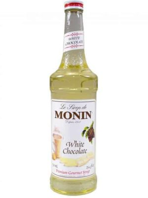 Monin White Chocolate Syrup in glass bottle