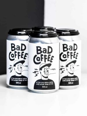 four bad coffee nitro brew black white cans