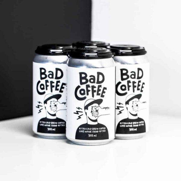 four bad coffee nitro brew black white cans