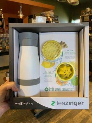 Tea Zinger Gift Set White with Grater and citrus press