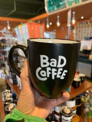 bad coffee mug black white writing
