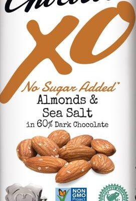 chocolove xo no sugar added almonds sea salt dark chocolate bar