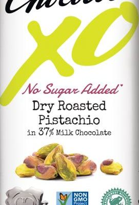chocolove XO no sugar added dry roasted pistachio milk chocolate bar