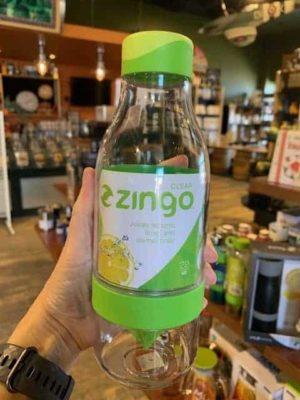Zingo sport water bottle green glass