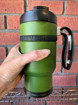 Double Shot Brew Stop Coffee Travel Mug French Press Green