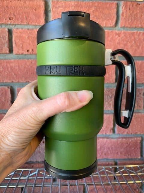 Double Shot Brew Stop Coffee Travel Mug French Press Green