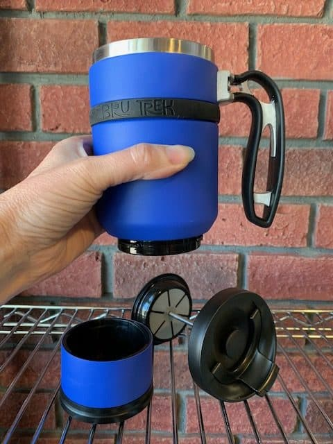 Double Shot Brew Stop Coffee Travel Mug French Press Parts Blue