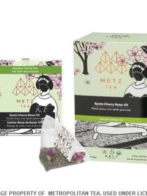 Metz Kyoto Cherry Rose Organic Green Tea Bags Box
