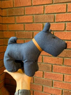 Stuffed Doorstopper Denim Dog
