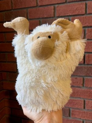 Stuffed Doorstopper White Monkey