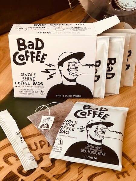 BAD Coffee Brew Bags on logo