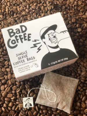 BAD Coffee brew bags on beans