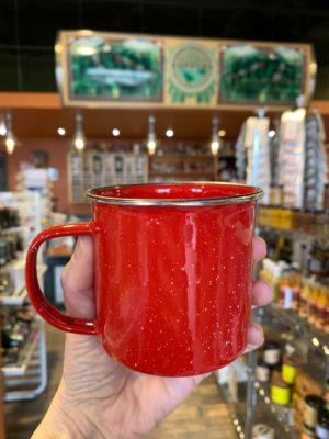 Enamel Red Cup Stainless Rim 12oz