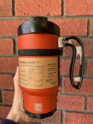 Double Shot Brew Stop Coffee Travel Mug Orange
