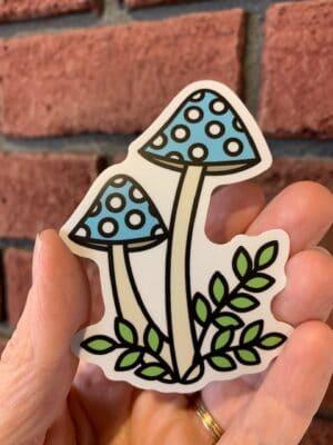 Vinyl Sticker - Blue Mushrooms